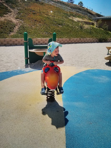 Walter playing on the playground at the beach